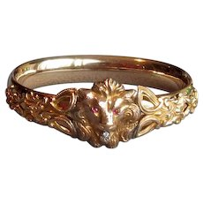 Victorian Gold-Filled Bangle Bracelet with Lion