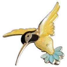 Denmark Sterling & Enamel Hummingbird Pin
