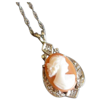 Vintage 14K White Gold and Diamond Pendant Necklace with Cameo