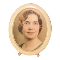 Vintage Oval Celluloid Tabletop Picture Frame