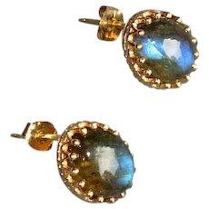 10K Gold Labradorite Pierced Earrings
