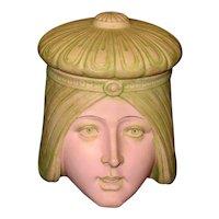 Germany Shafer & Vater Bisque Porcelain Figural Lady Vanity Jar