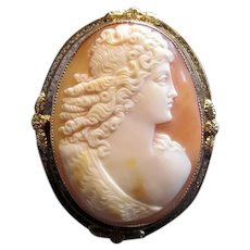 10K Gold Antique Cameo Portrait Brooch