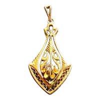 10K Gold Art Nouveau Lavalier with Diamond