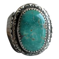 Signed Navaho Silver & Turquoise Ring