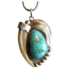 Native American Silver and Turquoise Pendant