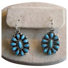 Native American Turquoise Needlepoint Drop Earrings