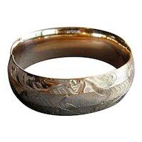 Fancy Engraved Gold-Filled Bangle Bracelet
