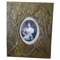 Vintage Tabletop Picture Frame with Pierced Brass Overlay