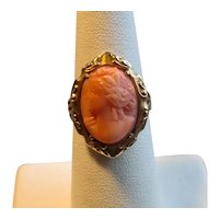 10K Gold Victorian Pink Coral Cameo Ring
