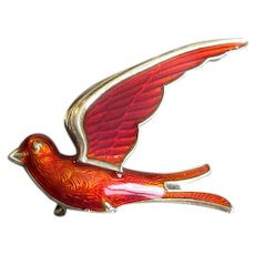 Red Norway Sterling & Enamel Bird Pin