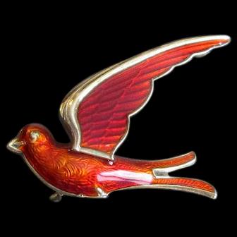 Red Norway Sterling & Enamel Bird Pin