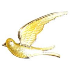 Norway Sterling & Yellow Guilloche Enamel Bird Pin