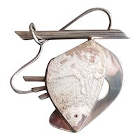 Sterling Silver Abstract Fish Pin with Agate