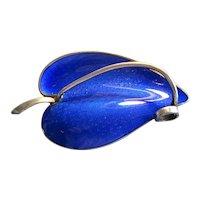 Sterling Silver & Blue Enamel Leaf Pin
