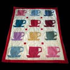 "Vintage Patchwork ""Cup and Saucer"" Crib Blanket"