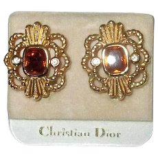 Christian Dior Gold-Filled Clip Earrings with Faux Topaz