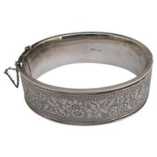 Antique Sterling Engraved Bangle Bracelet