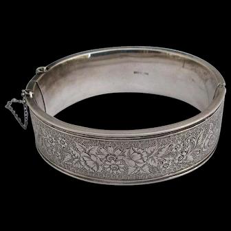 Antique Sterling Engraved Bangle Bracelet