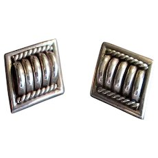 Sterling Silver Native American Post Earrings with Modernist Design