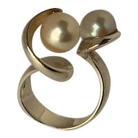J. Arnold Frew 14 karat gold Modernist ring