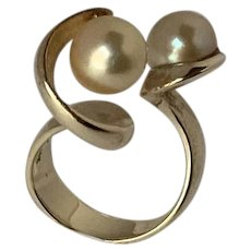 J. Arnold Frew 14 karat gold Modernist ring