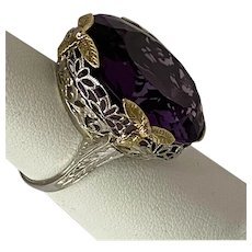 18 karat tri- color gold filigree Amethyst ring
