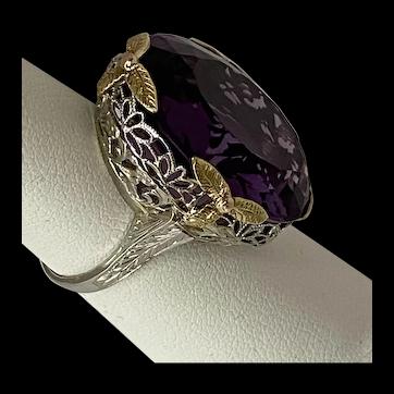 18 karat tri- color gold filigree Amethyst ring