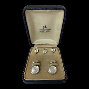 Art Deco Larter & Sons 14karat cufflinks and shirt studs