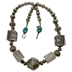 Tommy Singer Native American Sterling Silver and Turquoise Necklace