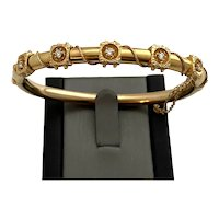 Vintage 14 Karat Gold and Diamond Bangle Bracelet