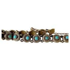Victorian 14 karat, Turquoise, Button Bracelet