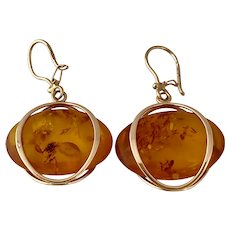 14 karat Rose Gold Amber Earrings