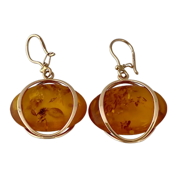 14 karat Rose Gold Amber Earrings