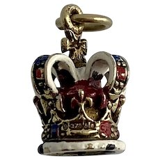 English Crown Charm Enameled 9k gold