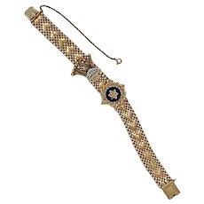 14 karat Enameled Mesh Bracelet with Tassel