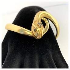 18 Karat Gold and Blue Sapphire Snake Bracelet