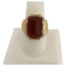 Art Deco 10karat Yellow Gold and Carnelian Ring