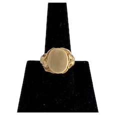 Art Nouveau 14K Gold Large Signet Ring