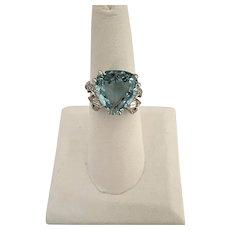 Art Deco Platinum and Aquamarine and Diamond Ring