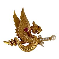 Riker Brothers 14 karat Griffin/Dragon Brooch