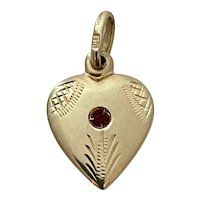 Vintage 14K Gold and Ruby Heart Charm