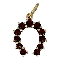 Vintage 14 Karat Gold and Garnet Horseshoe Charm