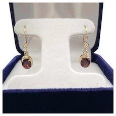 14 Karat Gold and Garnet Earrings