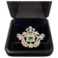 Edwardian 18 Karat Gold Emerald and Diamond Brooch/Pendant