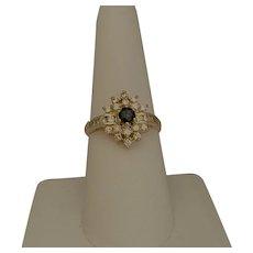 14 Karat Diamond and Sapphire Ring
