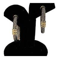 David Yurman Sterling and 14K Earrings