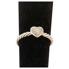 David Yurman Diamond and Sterling Silver Ring