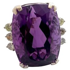 Gorgeous Amethyst and Diamond 14K Gold Ring