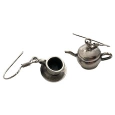 Modernist Sterling Silver Dangle Earrings, Teapot and Teacup